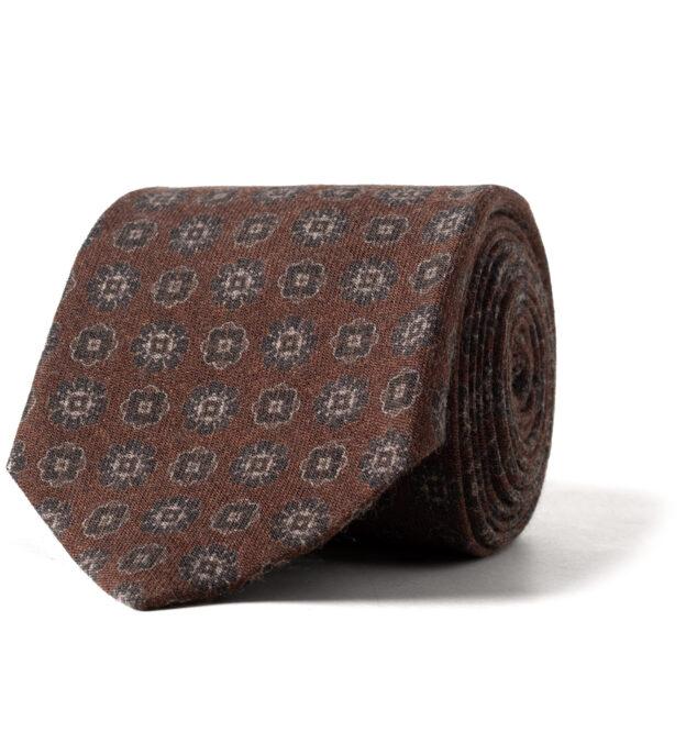 Rust Printed Wool Foulard Tie