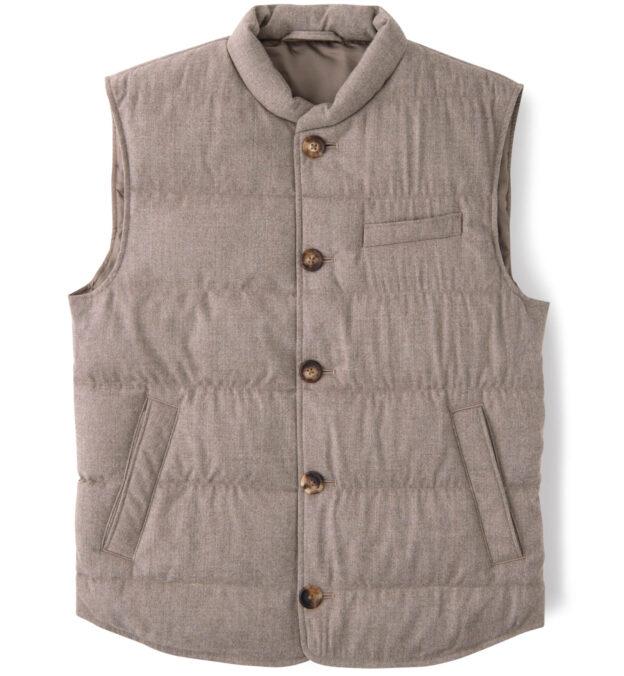 Cortina Beige Performance Wool Button Vest