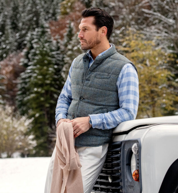 Cortina Grey and Blue Windowpane Wool Button Vest