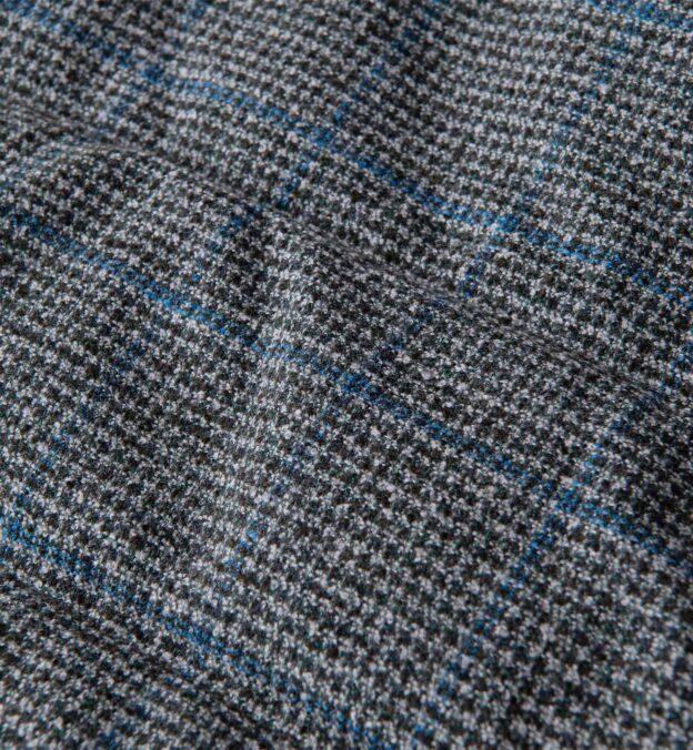 Cortina Grey and Blue Windowpane Wool Button Vest
