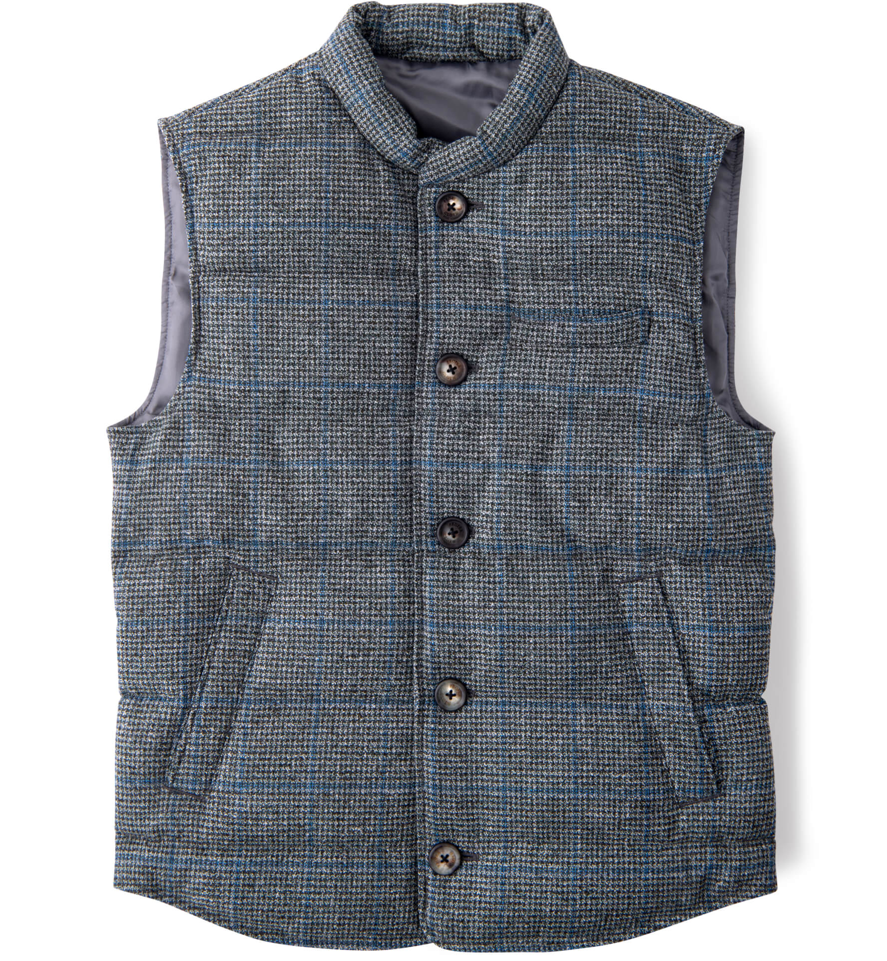 Zoom Image of Cortina Grey and Blue Windowpane Wool Button Vest