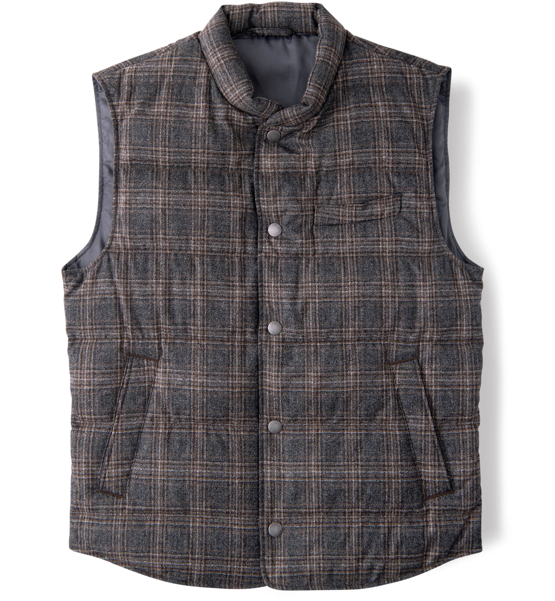 Zoom Image of Cortina Grey and Brown Melange Plaid Wool Snap Vest