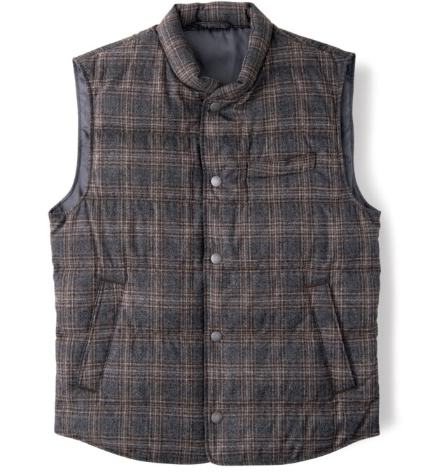 Cortina Grey and Brown Melange Plaid Wool Snap Vest