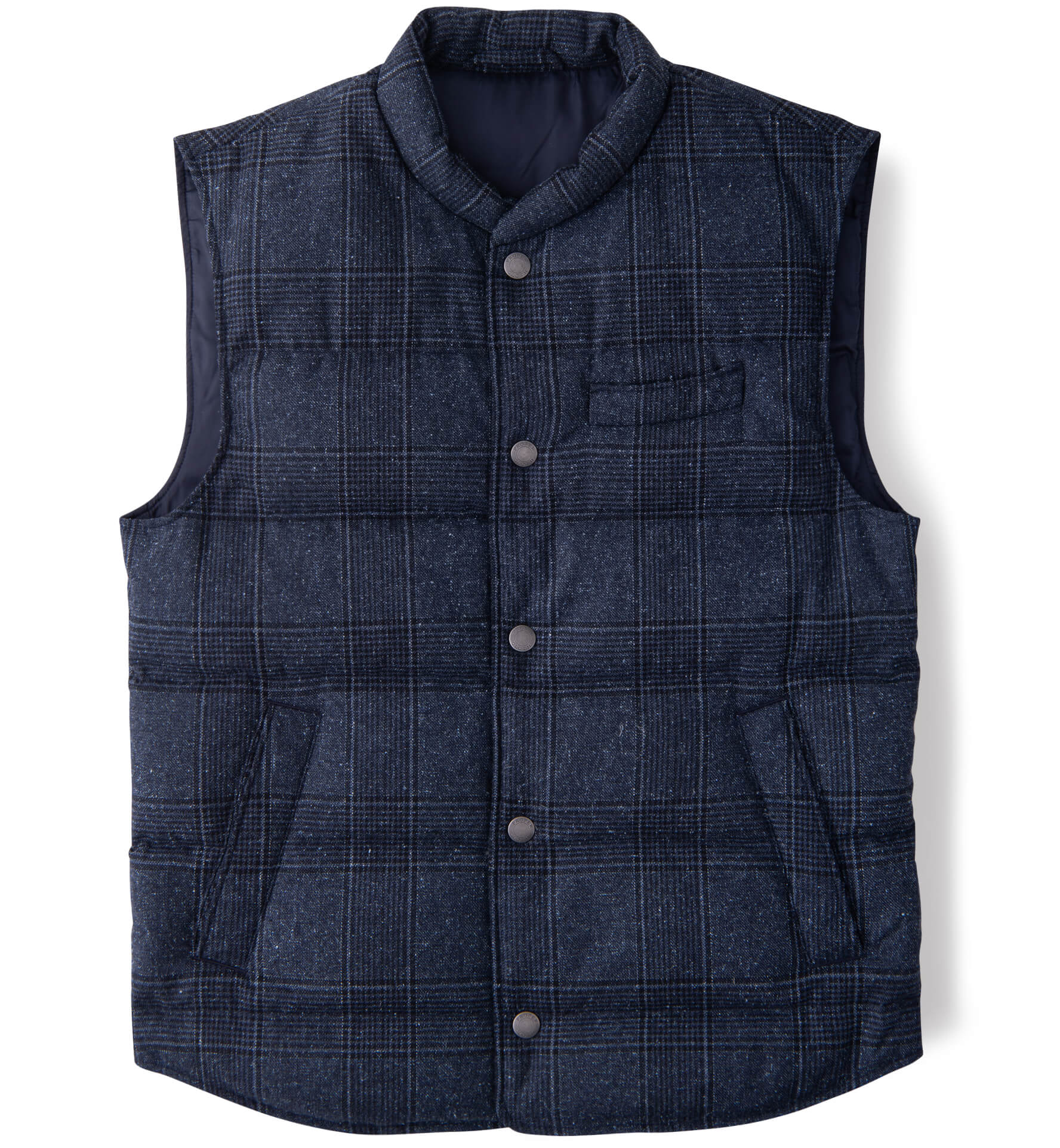 Zoom Image of Cortina Navy Plaid Donegal Wool Snap Vest
