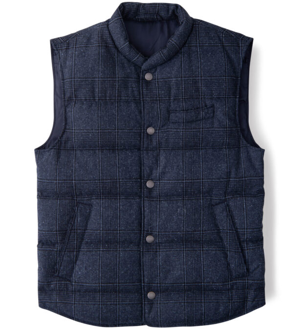 Cortina Navy Plaid Donegal Wool Snap Vest
