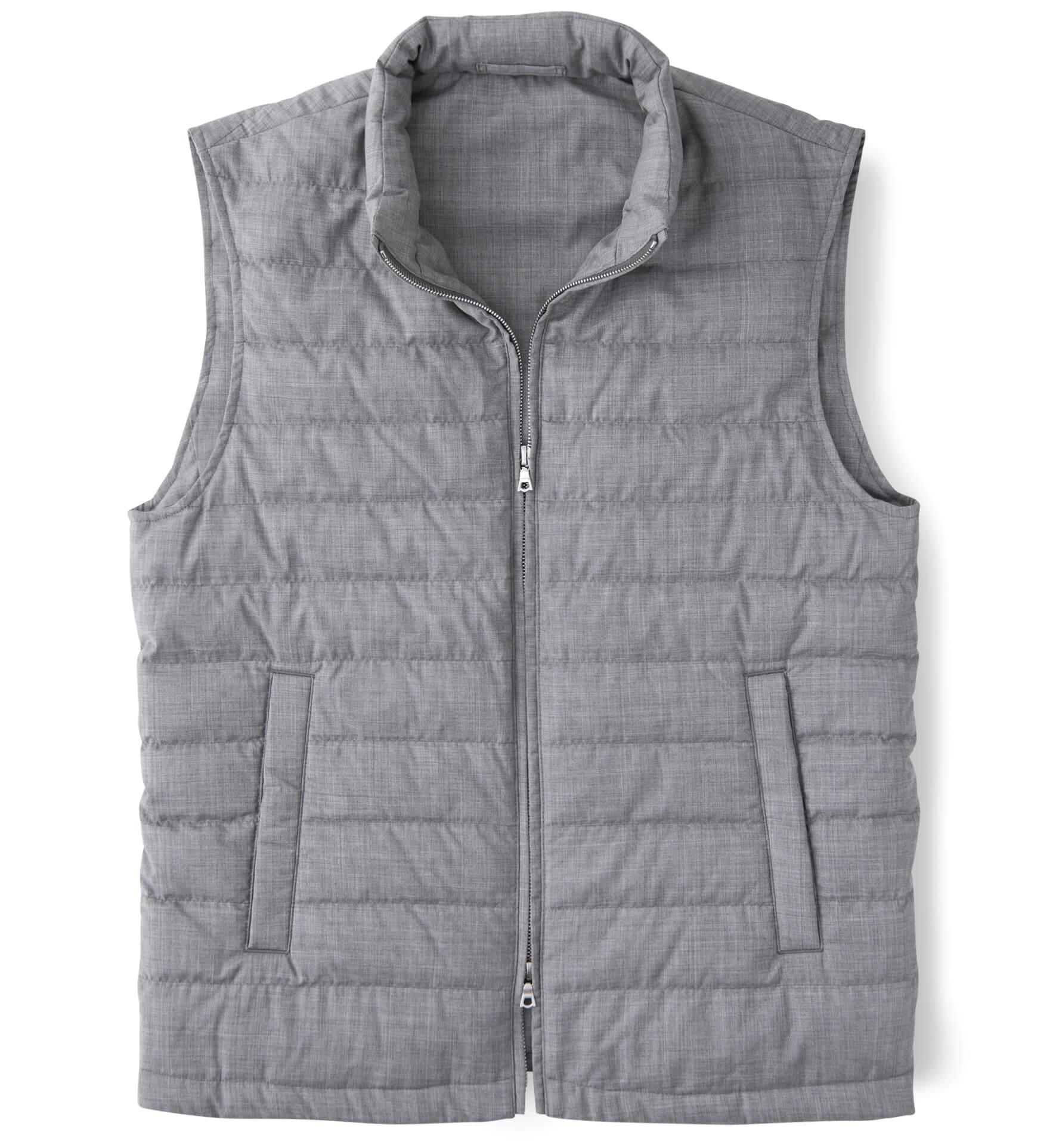 Zoom Image of Brera Light Grey Merino Wool Zip Vest