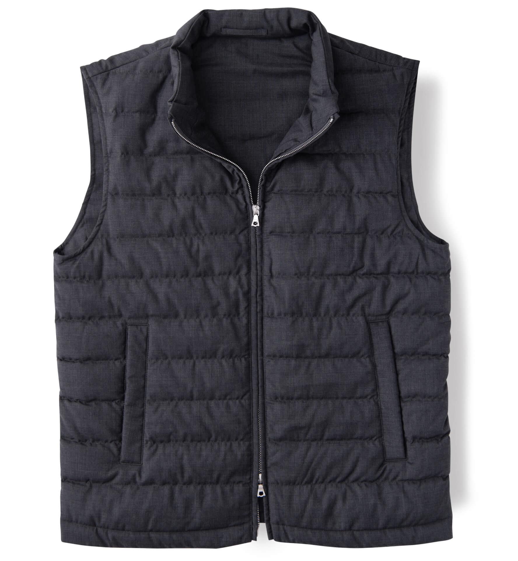 Zoom Image of Brera II Dark Grey Merino Wool Zip Vest