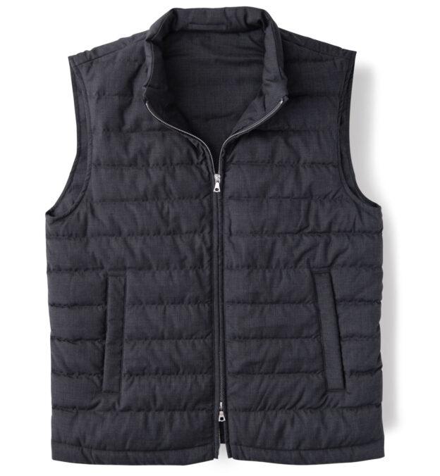 Brera II Dark Grey Merino Wool Zip Vest