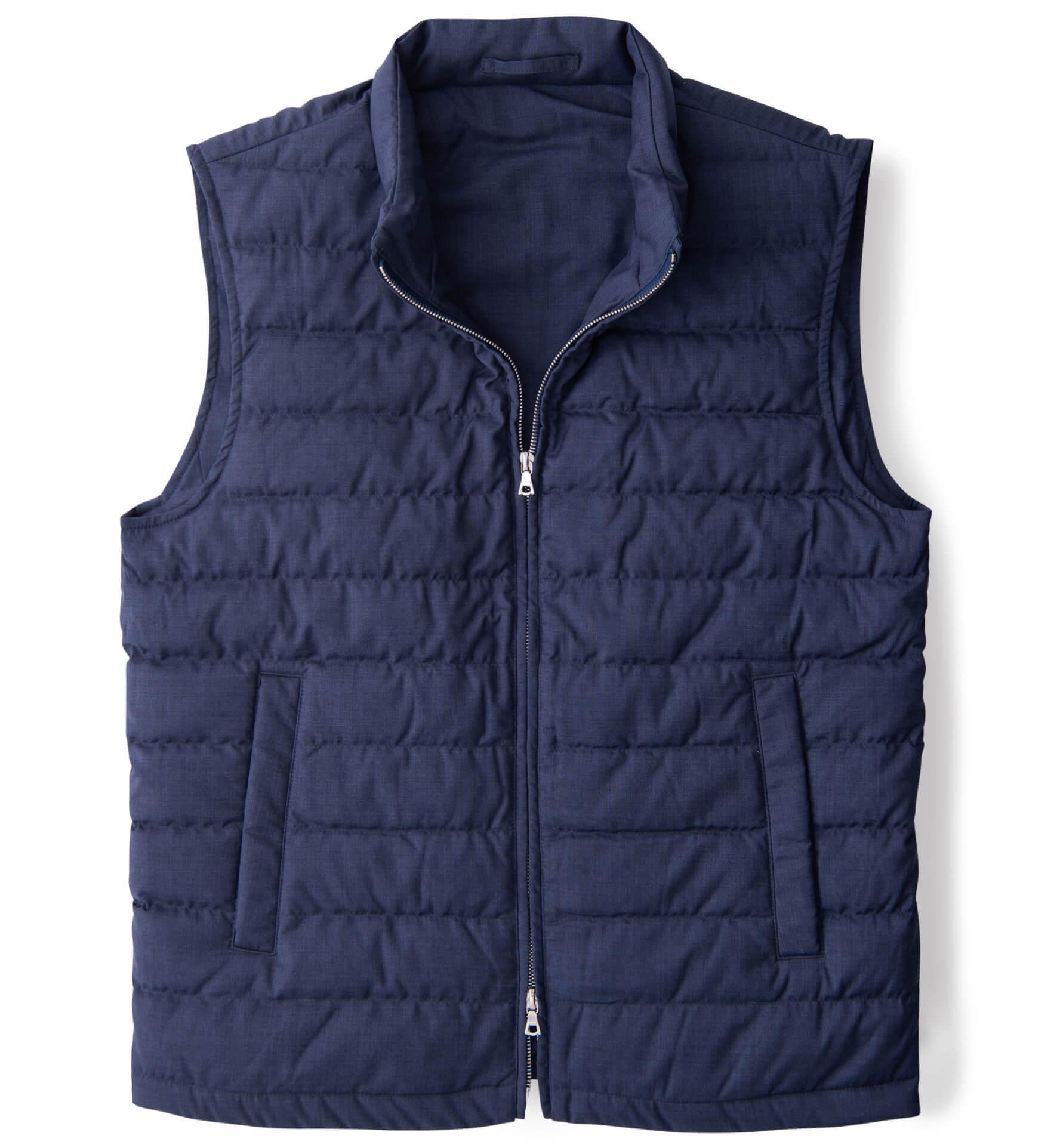 Zoom Image of Brera Slate Merino Wool Zip Vest