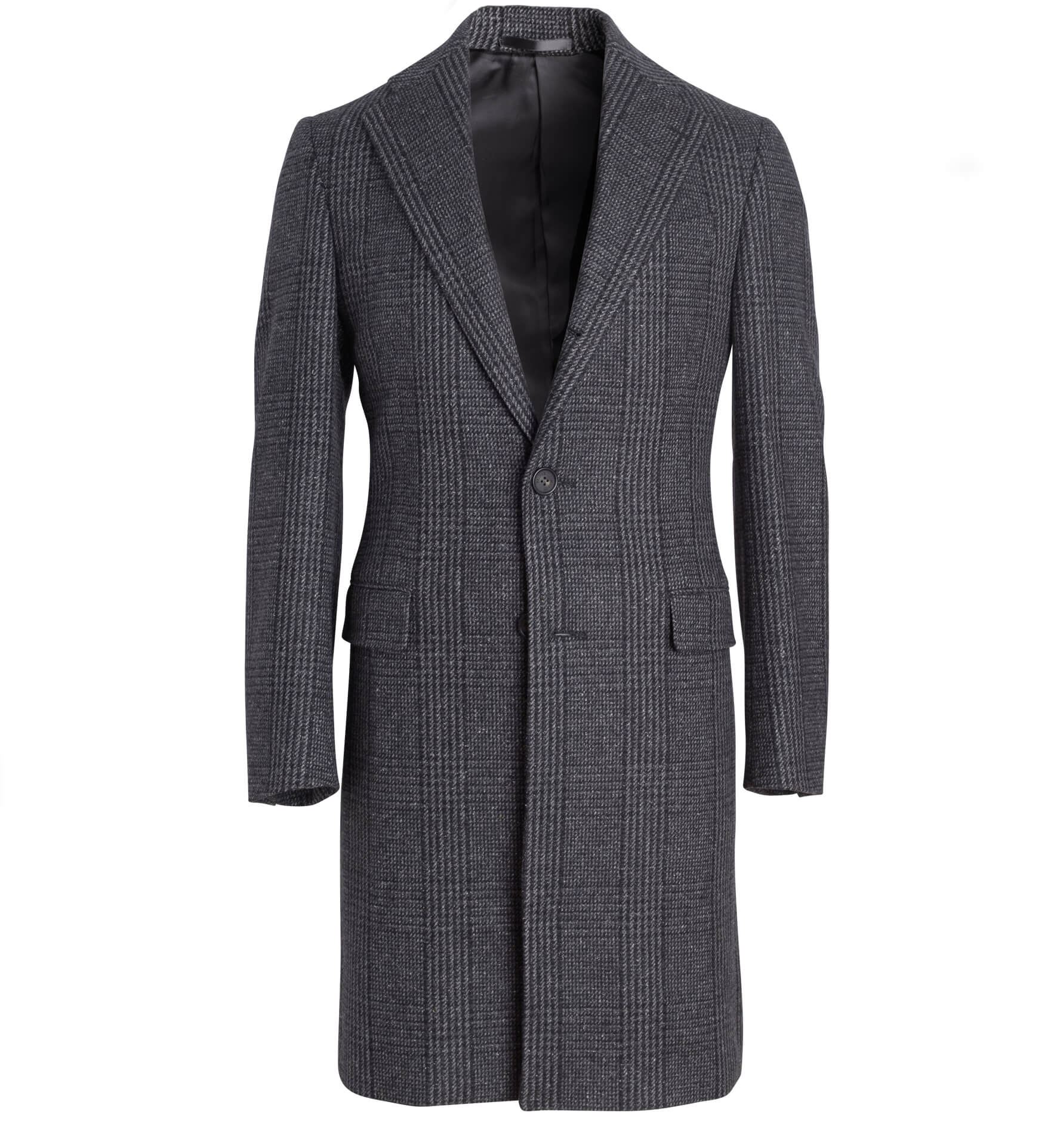 Zoom Image of Bleecker Grey Wool Glen Plaid Coat