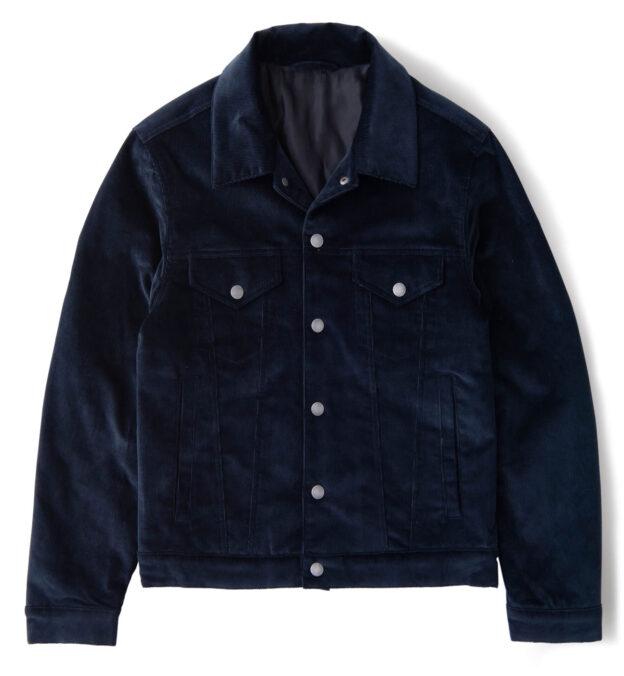 Lafayette Navy Blue Corduroy Trucker Jacket