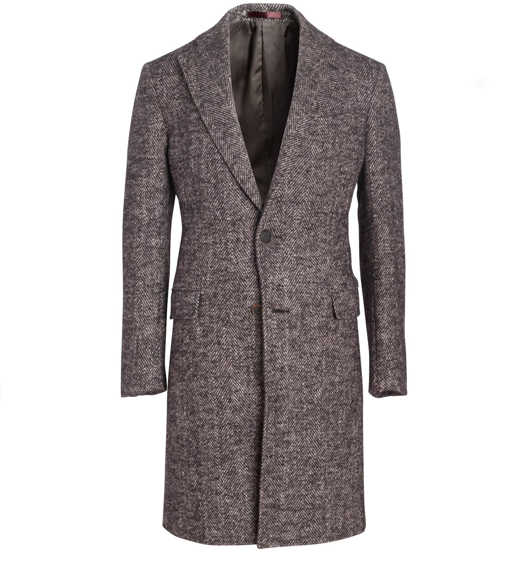 Zoom Image of Bleecker Brown Textured Wool Herringbone Coat