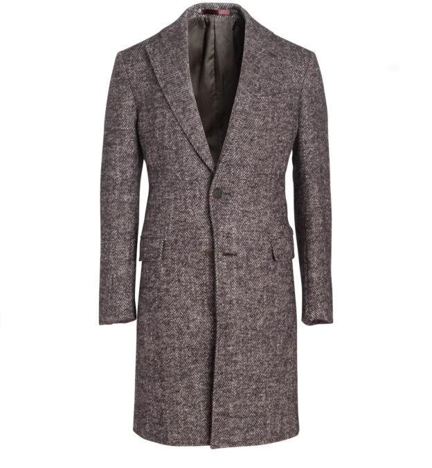 Bleecker Brown Textured Wool Herringbone Coat