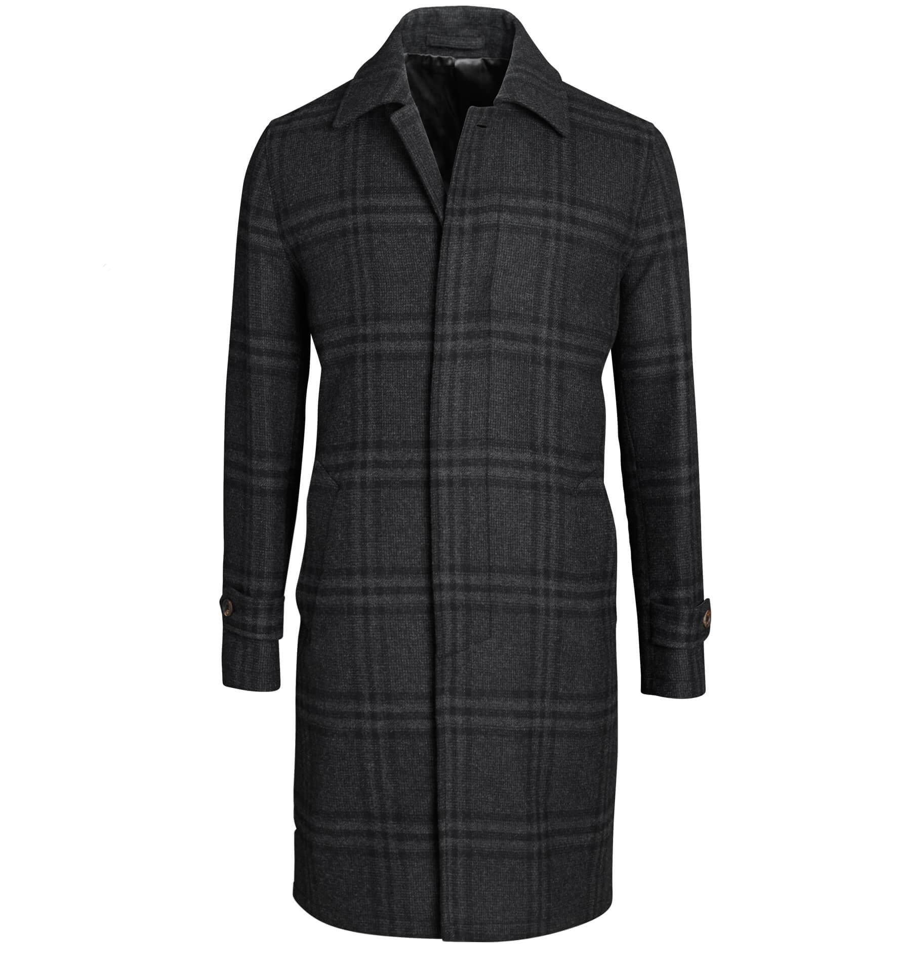 Zoom Image of Lazio Charcoal Plaid Wool Coat