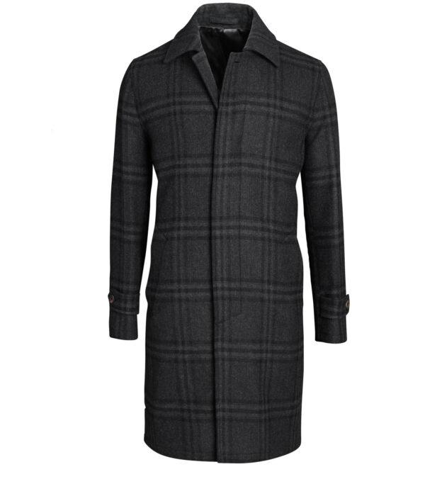 Lazio Charcoal Plaid Wool Coat