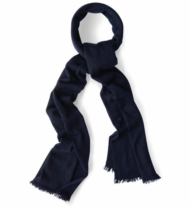 Navy Italian Cashmere Knit Scarf