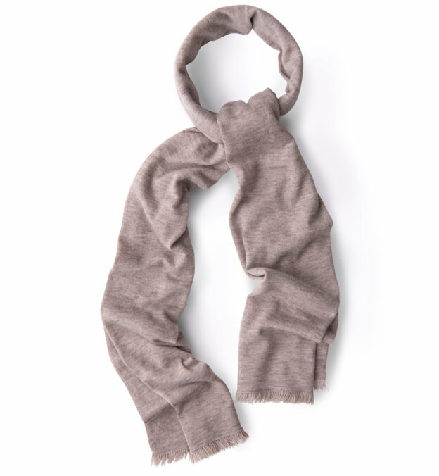 Beige Italian Cashmere Knit Scarf
