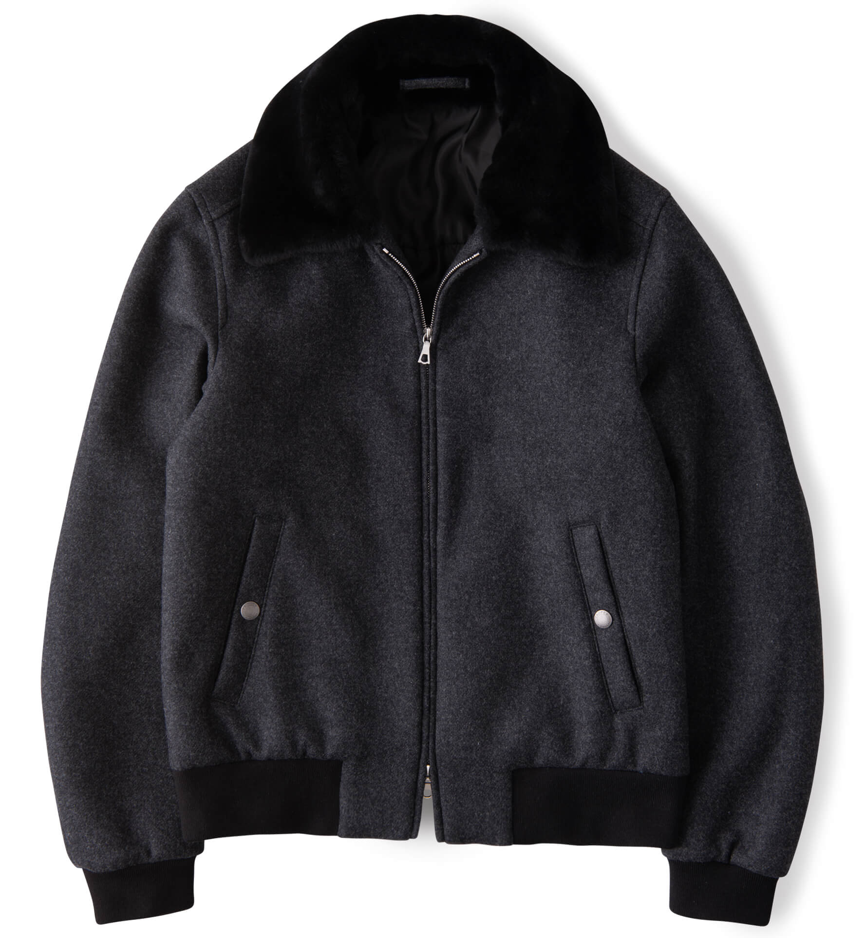 Zoom Image of Biella Grey Wool Shearling Collar Flight Jacket