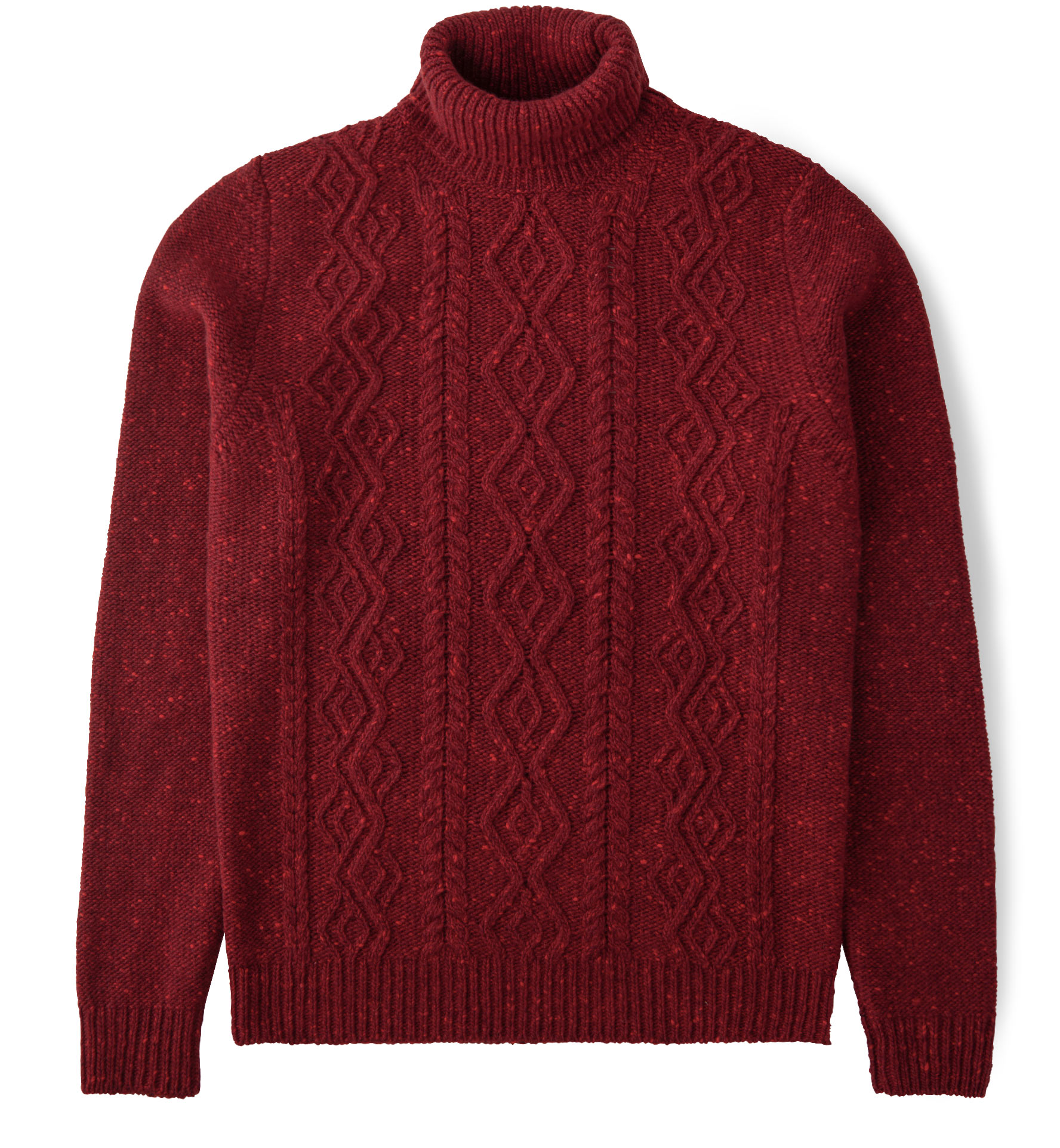 Zoom Image of Red Donegal Wool and Cashmere Aran Rollneck Sweater