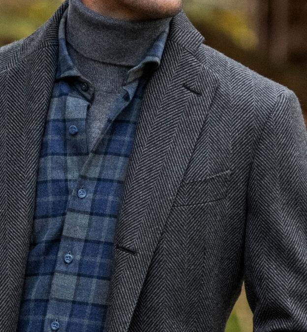 Bleecker Grey Herringbone Coat