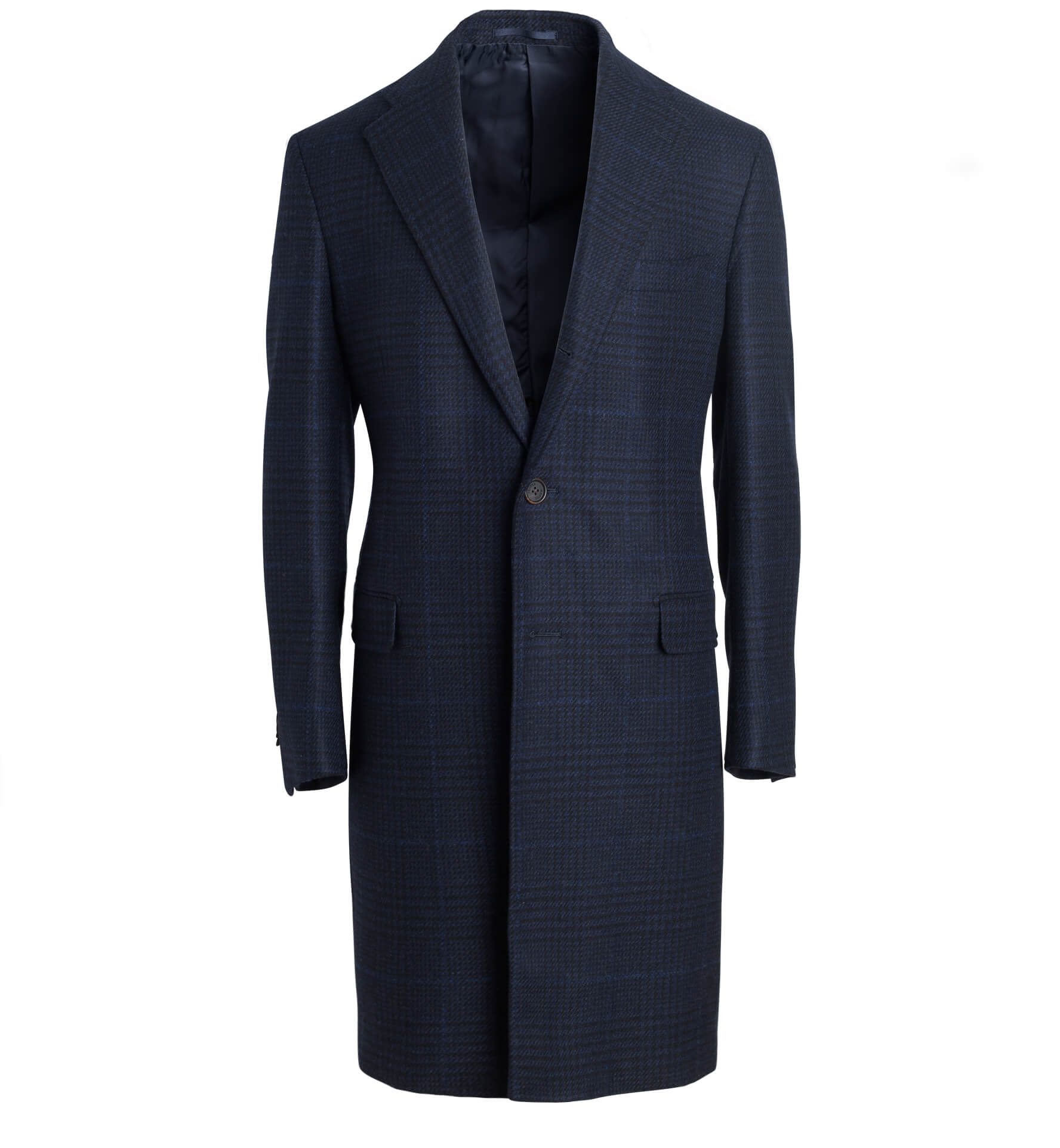 Zoom Image of Bleecker Navy Plaid Wool and Cashmere Coat