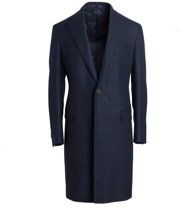 Bleecker Navy Plaid Wool and Cashmere Coat