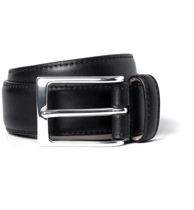 Black Vachetta Leather Dress Belt