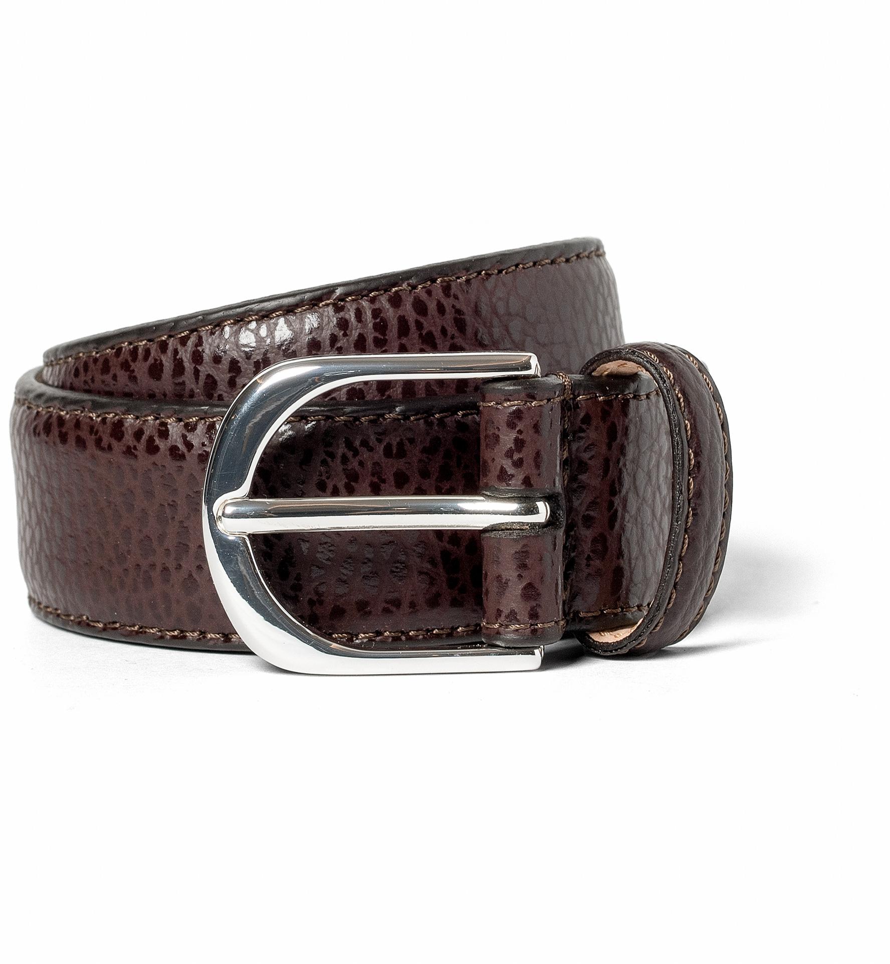 Zoom Image of Dark Brown Pebbled Leather Belt
