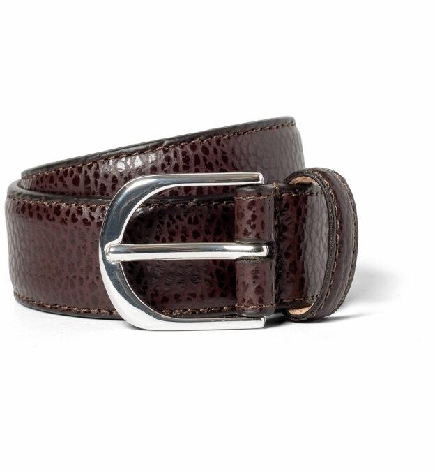 Dark Brown Pebbled Leather Belt