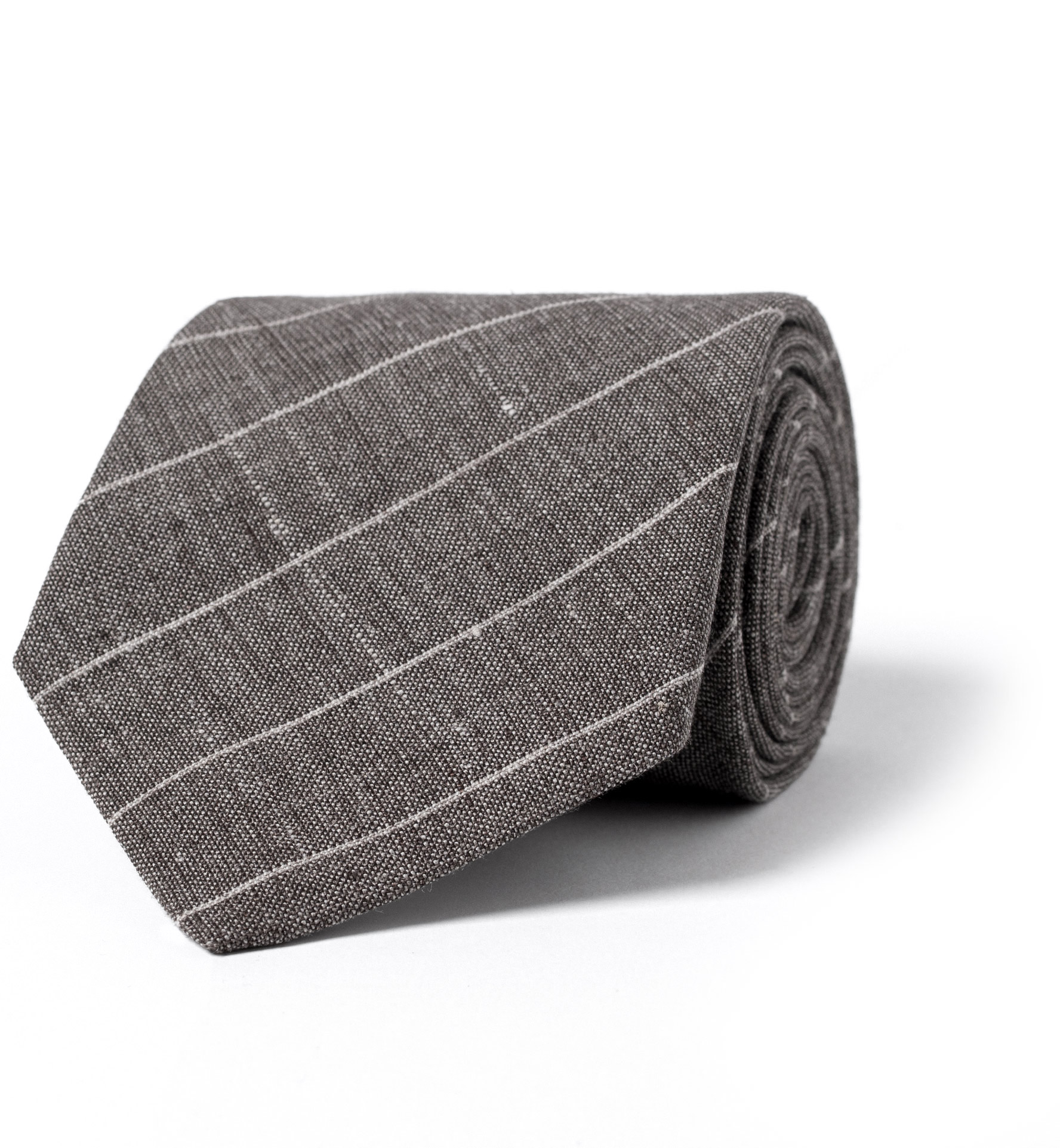 Zoom Image of Taupe Pinstripe Linen Wool and Silk Tie