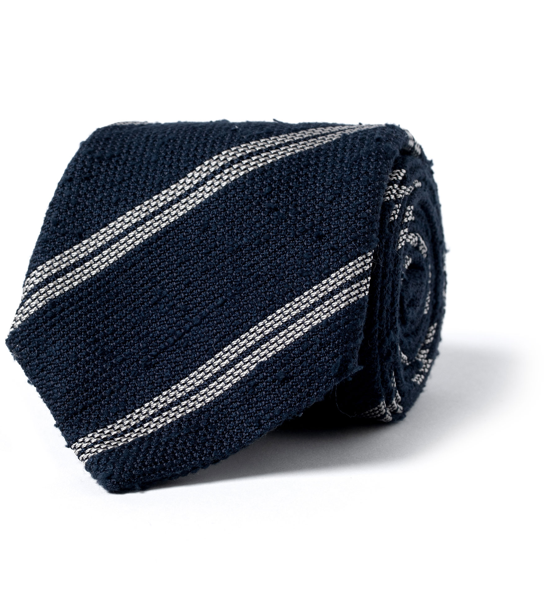 Zoom Image of Navy and Cream Double Stripe Shantung Grenadine Tie