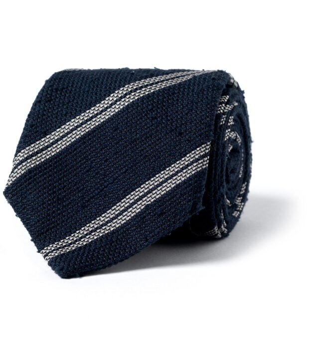 Navy and Cream Double Stripe Shantung Grenadine Tie