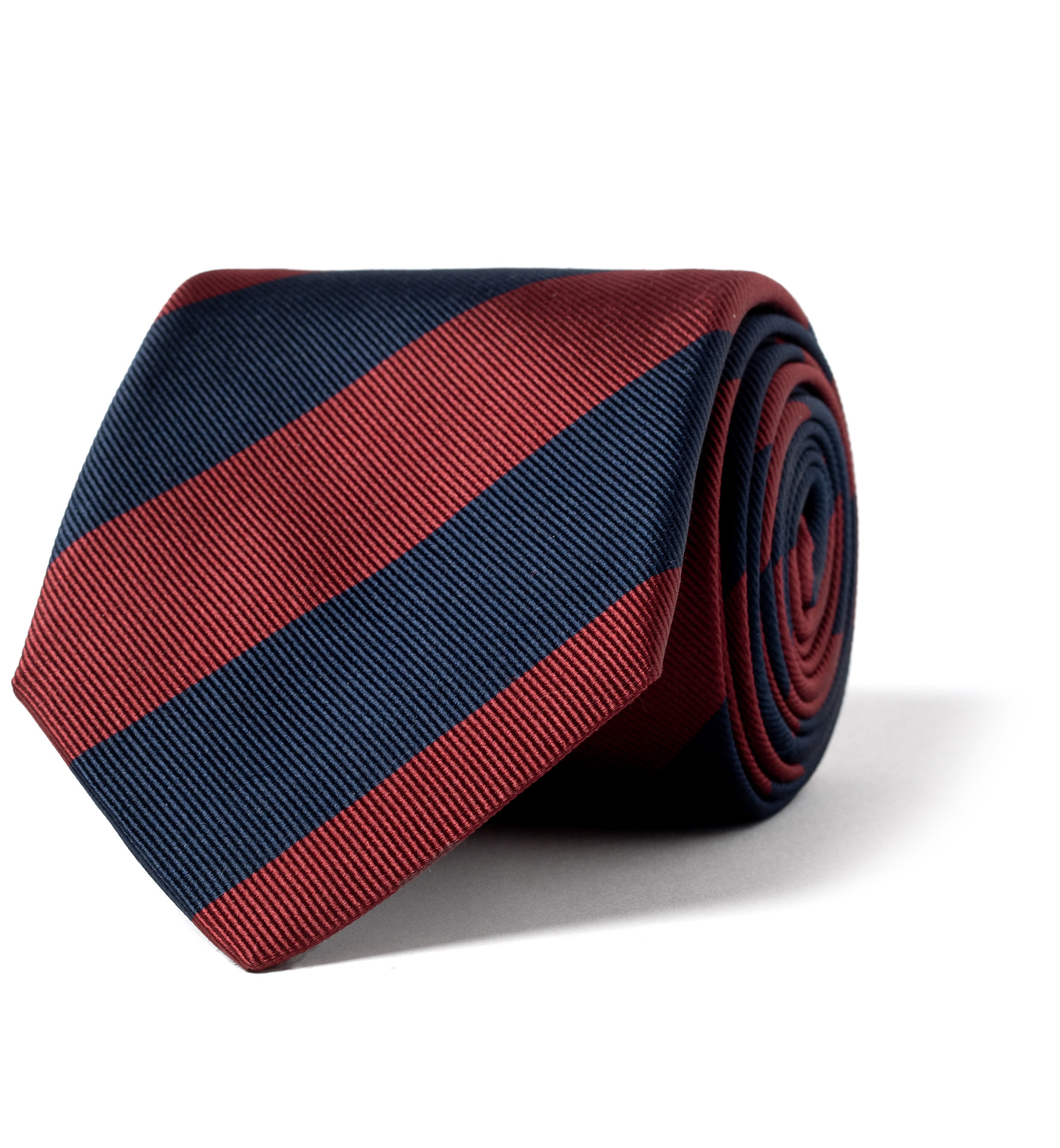 Zoom Image of Red and Navy Stripe Repp Silk Tie