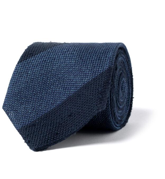 Navy and Ocean Blue Wide Stripe Shantung Grenadine Tie