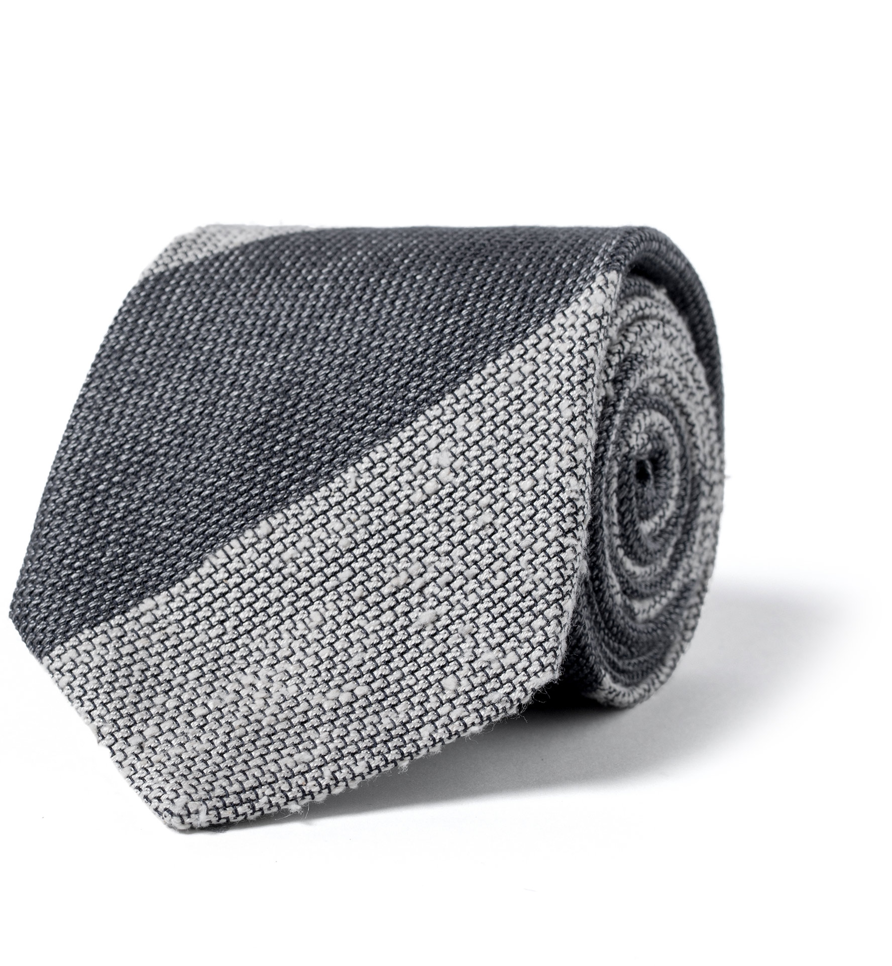 Zoom Image of Grey and Cream Wide Stripe Shantung Grenadine Tie