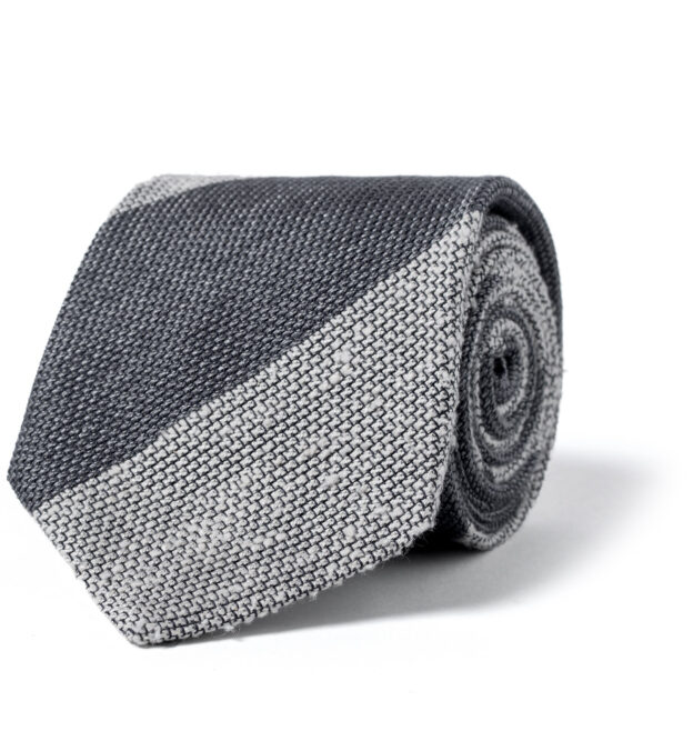 Grey and Cream Wide Stripe Shantung Grenadine Tie