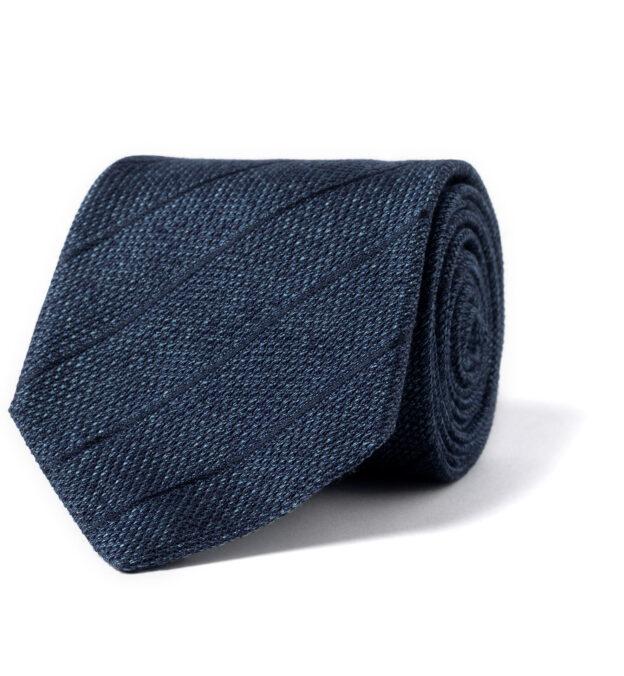 Ocean Blue Tonal Pinstripe Silk Grenadine Tie