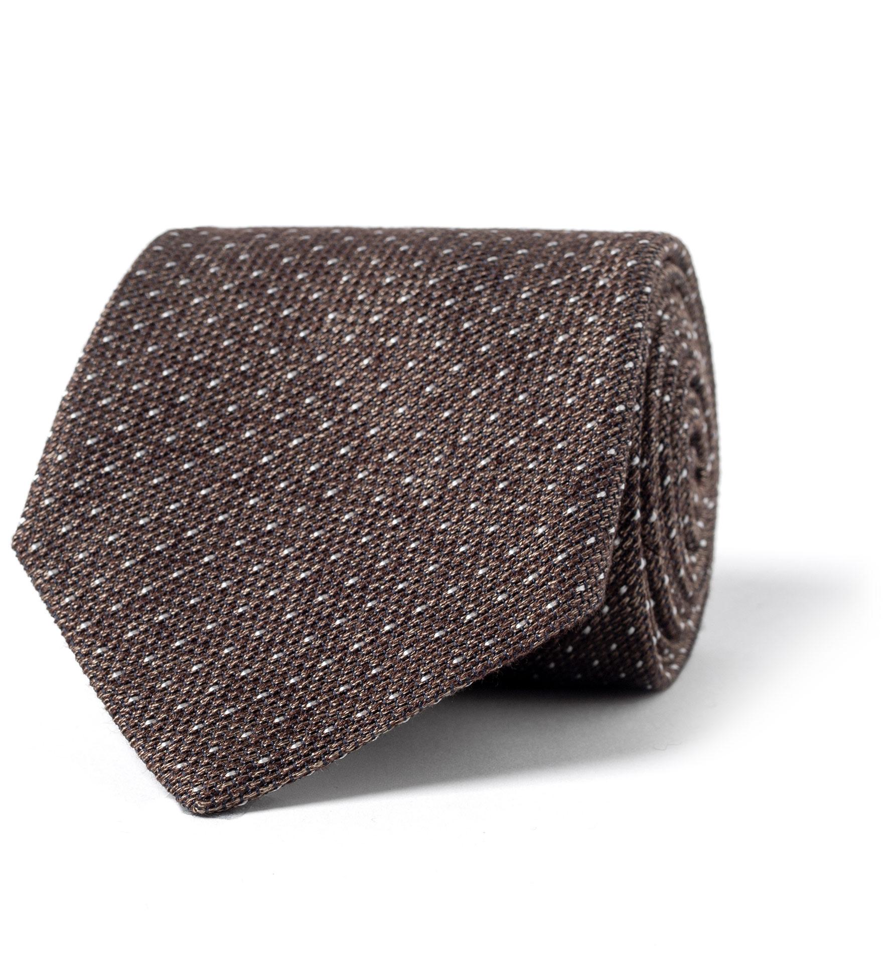 Zoom Image of Brown Melange Pindot Silk Grenadine Tie