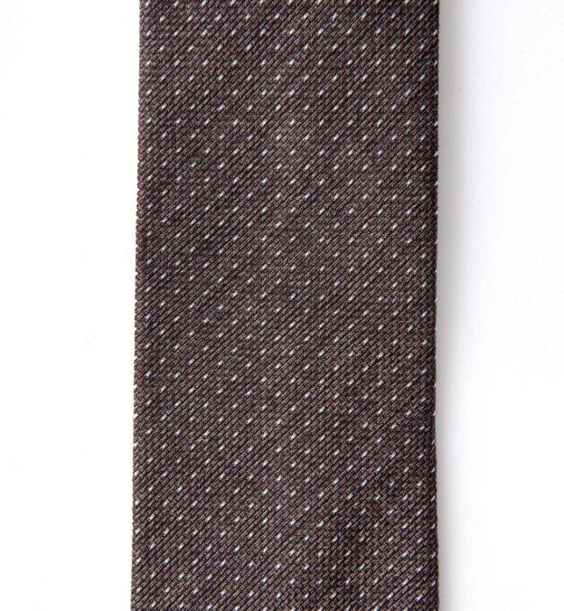 Brown Melange Pindot Silk Grenadine Tie