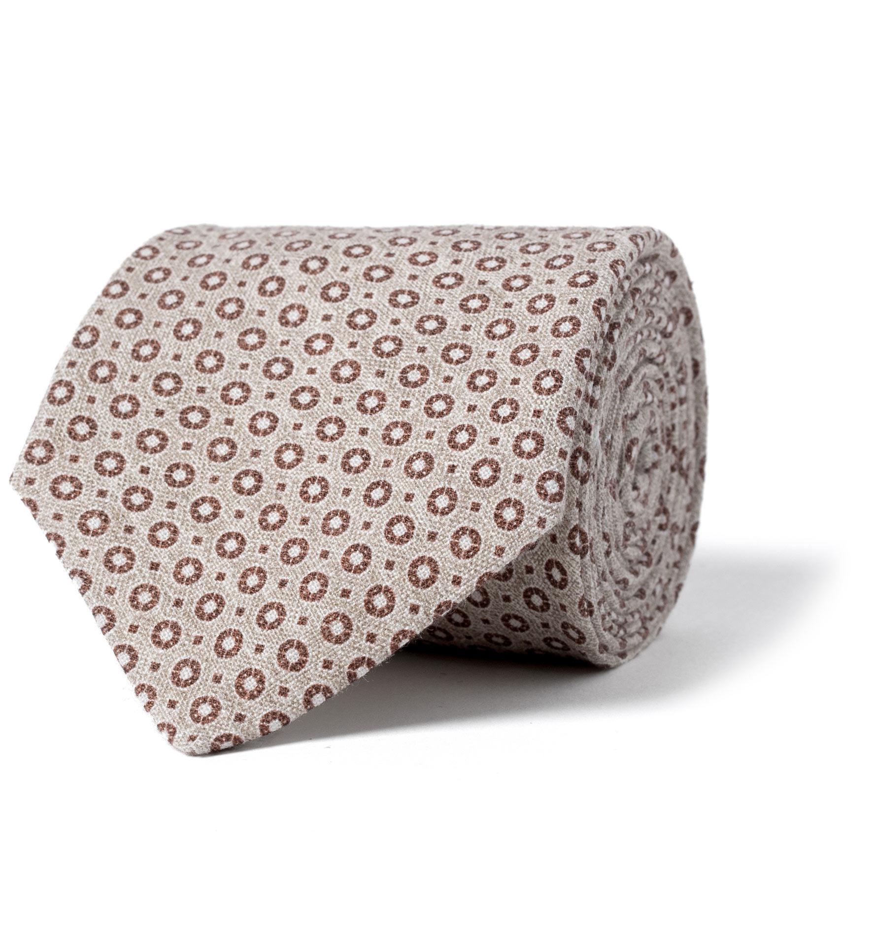 Zoom Image of Beige Medallion Print Linen Tie