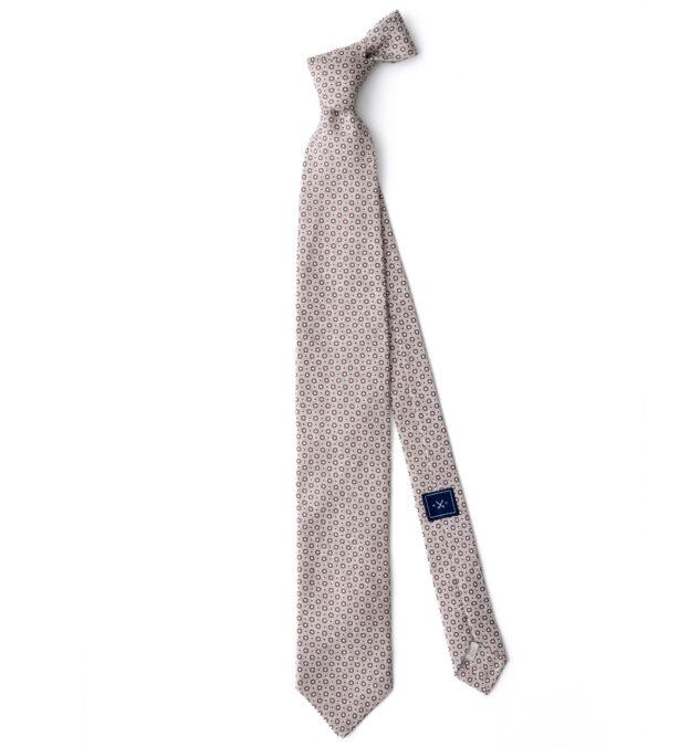 Beige Medallion Print Linen Tie
