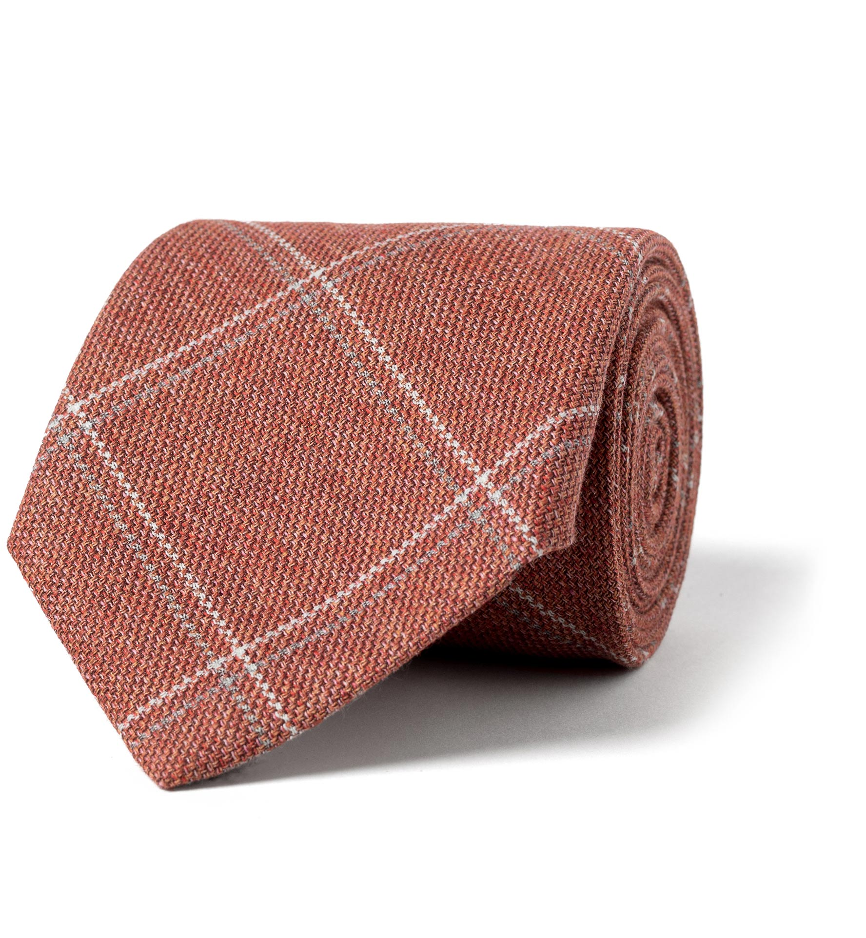 Zoom Image of Sienna Cotton Wool and Silk Windowpane Tie