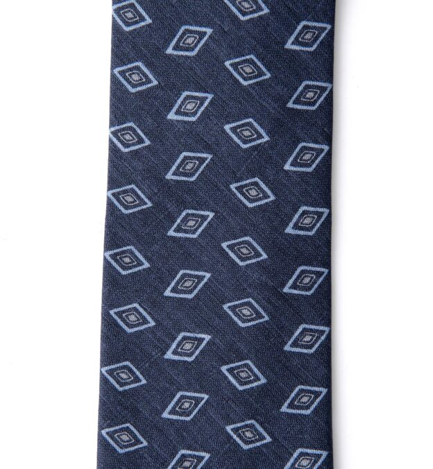 Faded Navy Rhombus Print Cotton and Silk Tie