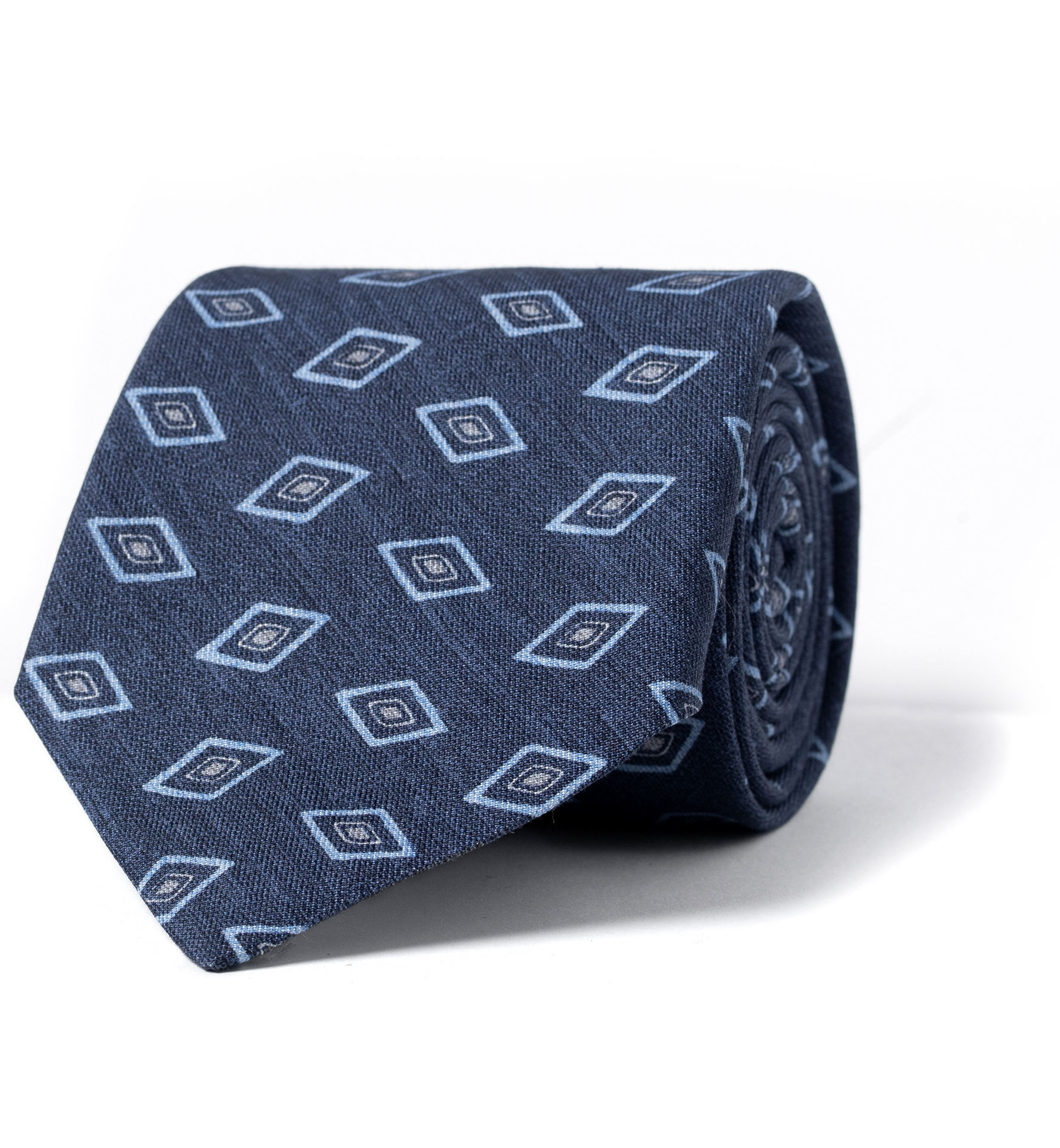 Zoom Image of Faded Navy Rhombus Print Cotton and Silk Tie