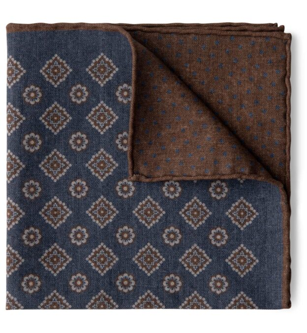 Faded Navy and Brown Foulard Print Pocket Square