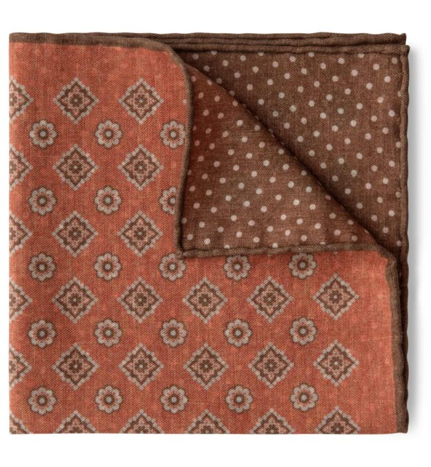 Orange and Brown Foulard Print Pocket Square