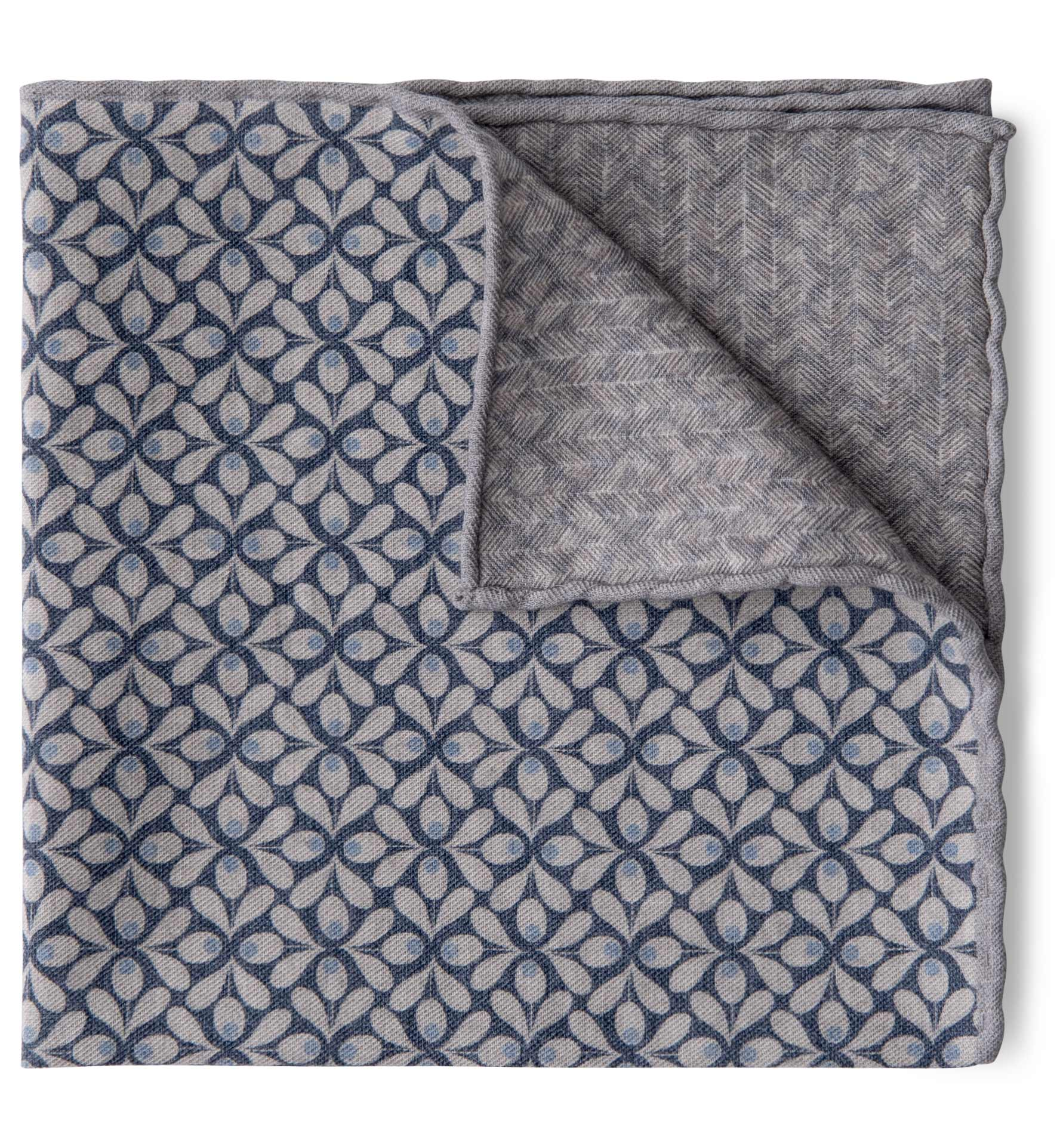 Zoom Image of Light Grey and Navy Geometric Floral Print Pocket Square