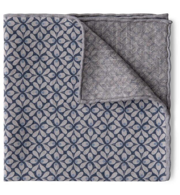 Light Grey and Navy Geometric Floral Print Pocket Square
