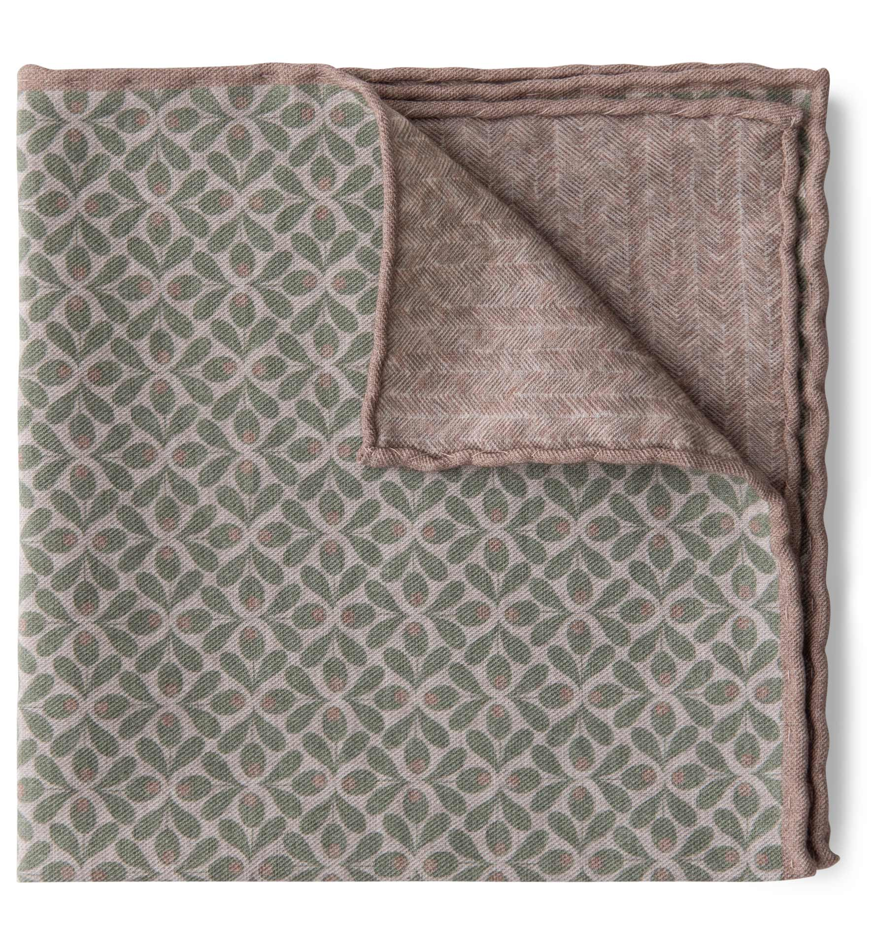 Zoom Image of Sage and Sand Geometric Floral Print Pocket Square
