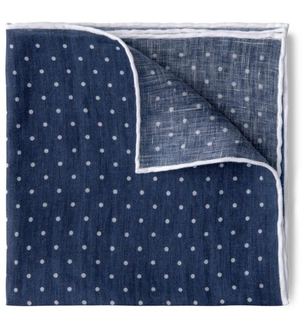 Faded Navy and White Dot Print Linen Pocket Square